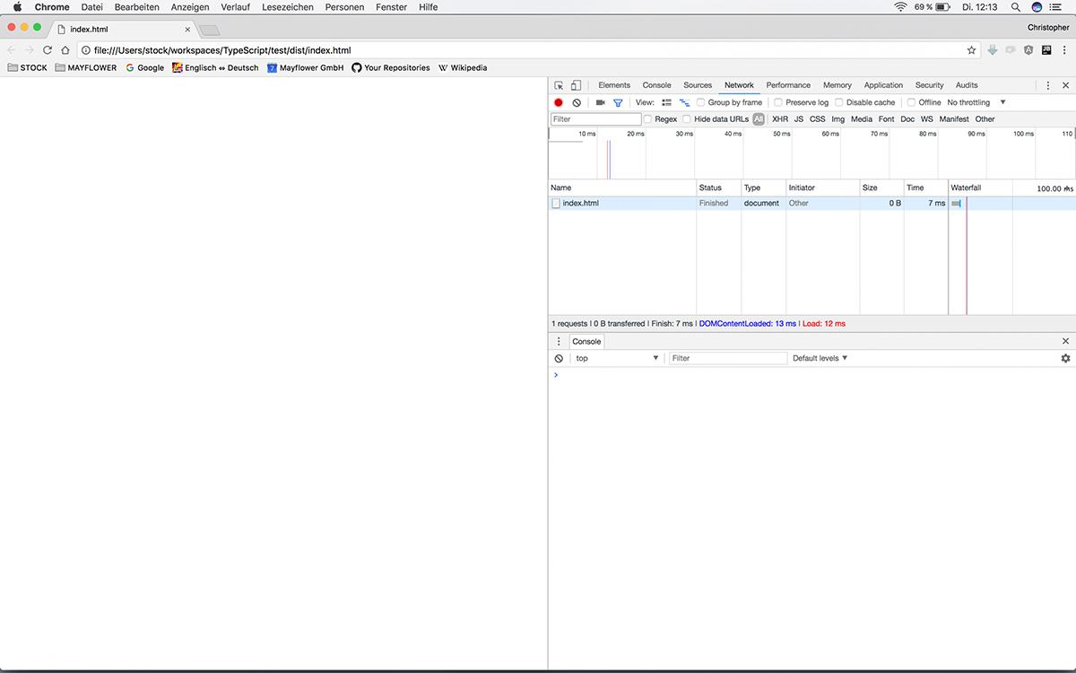TypeScript-Tooling: Anzeige unserer leeren Webseite im Browser.