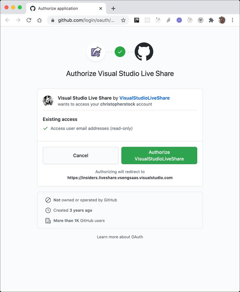 Authentifizierung für den GitHub Account