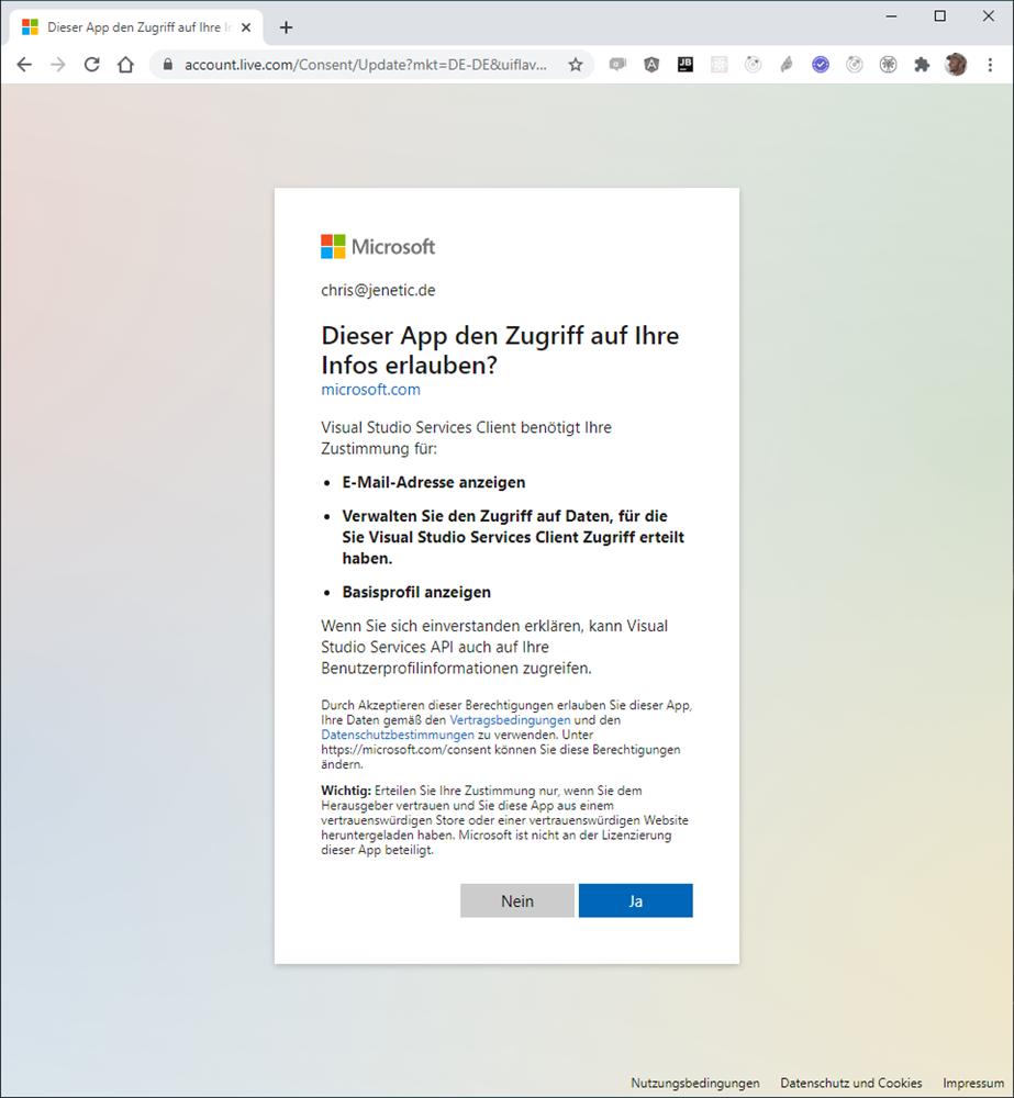 Authentifizierung für den Microsoft Account